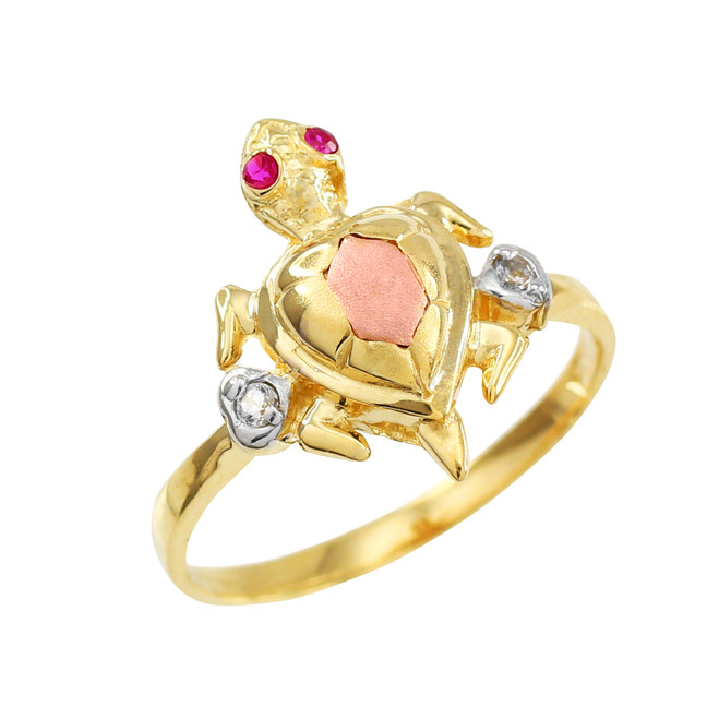 Gold CZ Turtle Ring in Three Colors