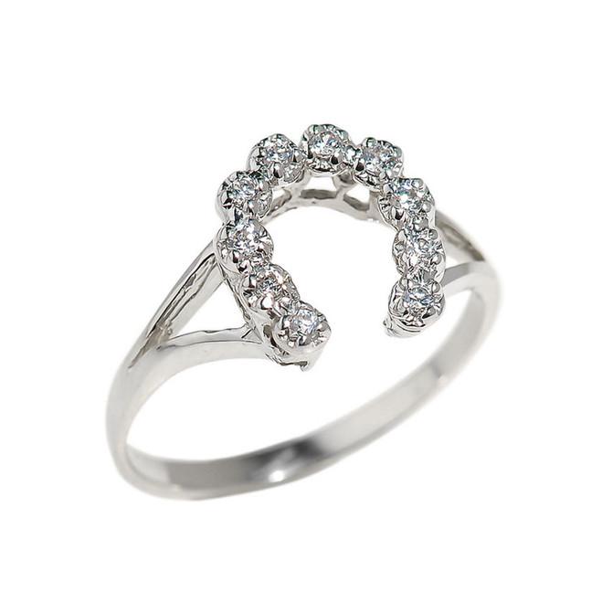 White Gold Cubic Zirconia Horseshoe Ladies Ring