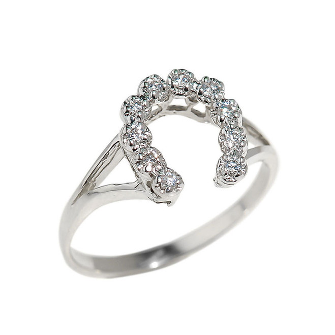 Sterling Silver Cubic Zircona Horseshoe Ladies Ring