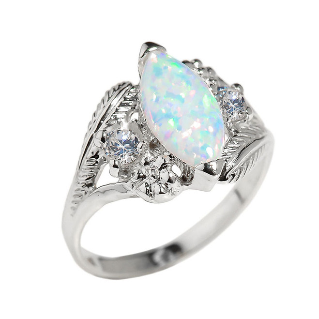 White Gold Marquise Opal Gemstone Ring