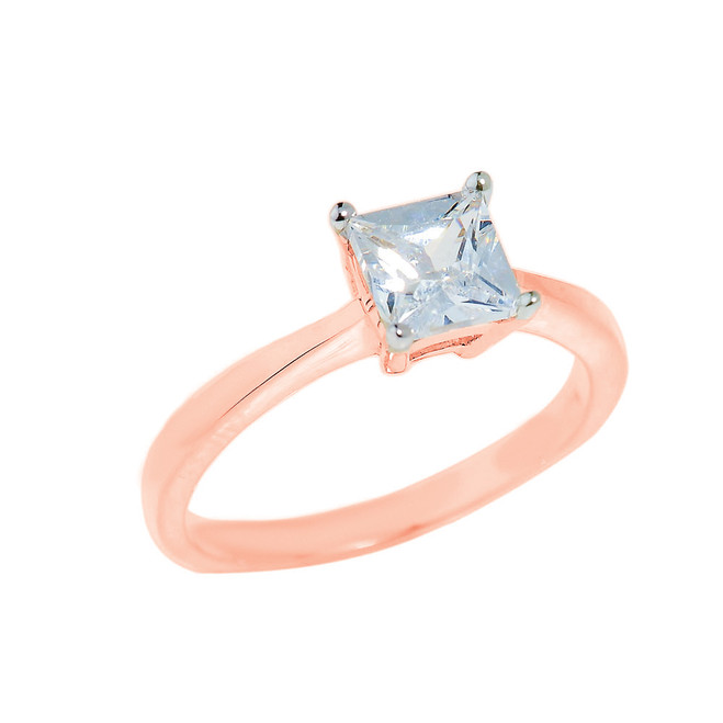Rose Gold CZ Princess Cut Engagement Ring