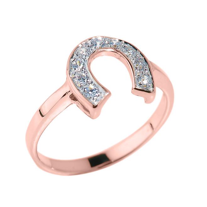 Rose Gold CZ Studded Horseshoe Ladies Ring