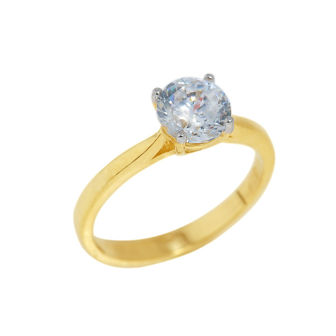 Gold CZ Round Cut Engagement Ring