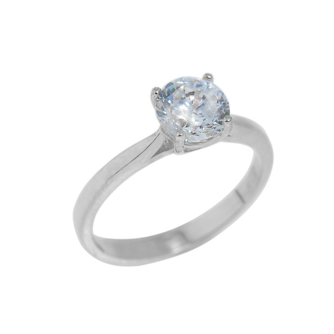 Sterling Silver CZ Round Cut Engagement Ring