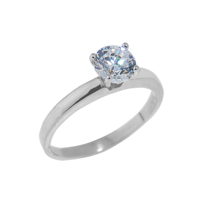 Sterling Silver Round Cut CZ Engagement Ring