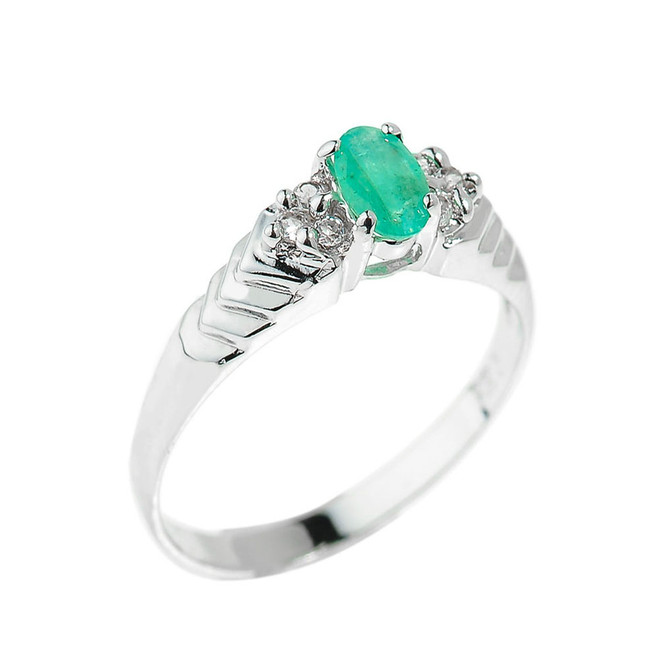 Sterling Silver Emerald Gemstone Ladies Ring