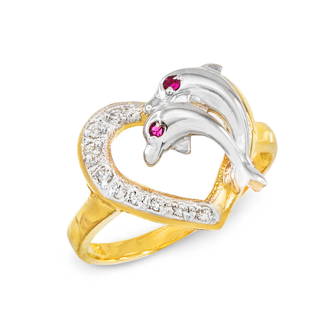 Two-Tone Gold CZ Dolphin Ring