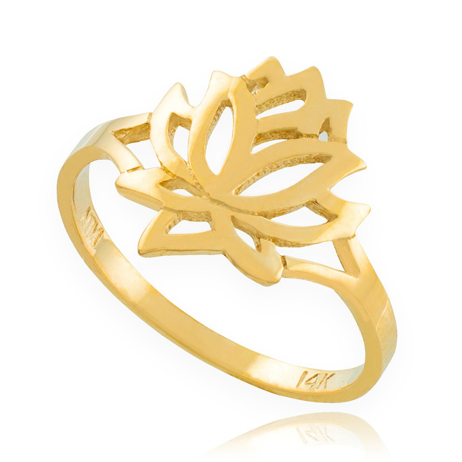 Solid Gold Lotus Flower Ring