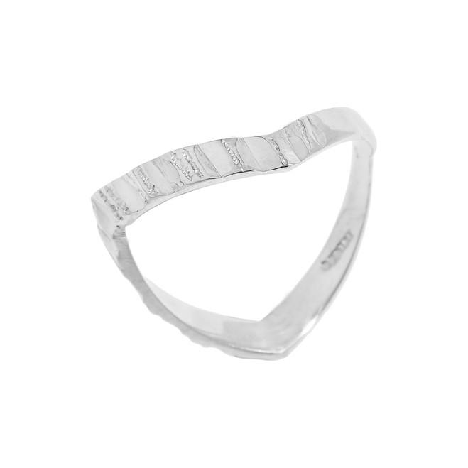 White Gold Diamond-Cut Thumb Ring