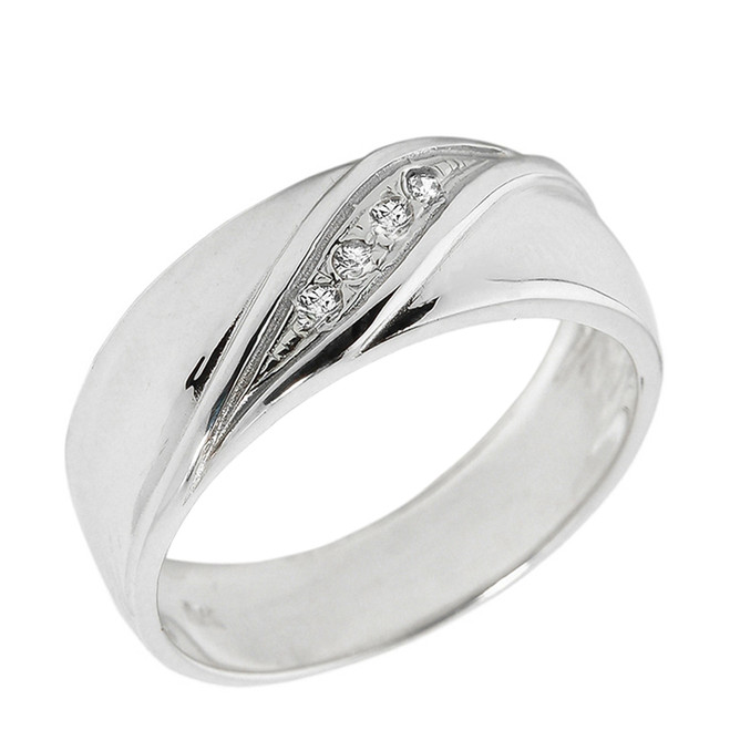 Solid White Gold Men's Diamond Wedding Band
