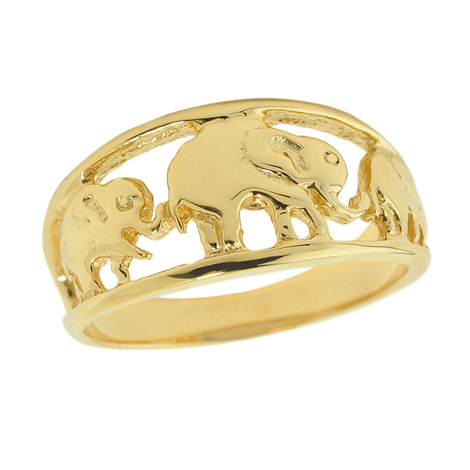 Solid Yellow Gold Openwork Three Elephant Ring