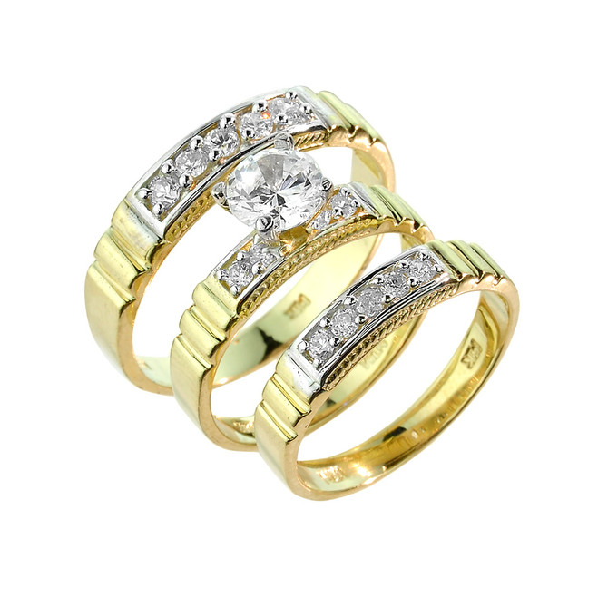 Gold CZ Wedding Ring Set (3-Piece)