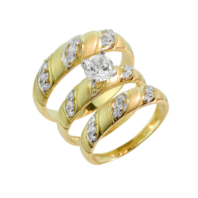 Gold CZ 3-Piece Wedding Ring Set