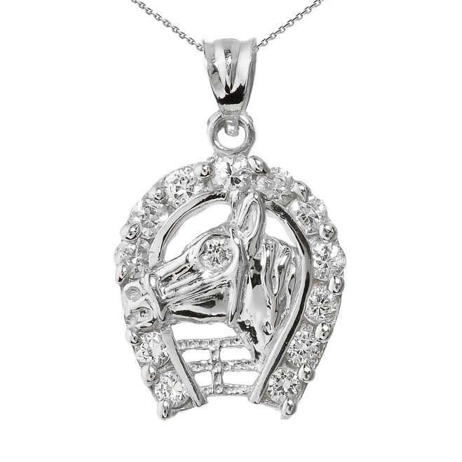 White Gold CZ Horseshoe with Horse Head Charm Pendant Necklace