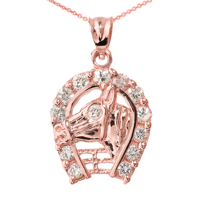 Rose Gold CZ Horseshoe with Horse Head Charm Pendant Necklace