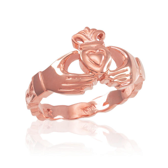 Rose Gold Claddagh Engagement Ring with Celtic Band