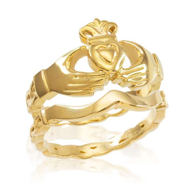 2-Piece Gold Claddagh Engagement Ring with Celtic Band