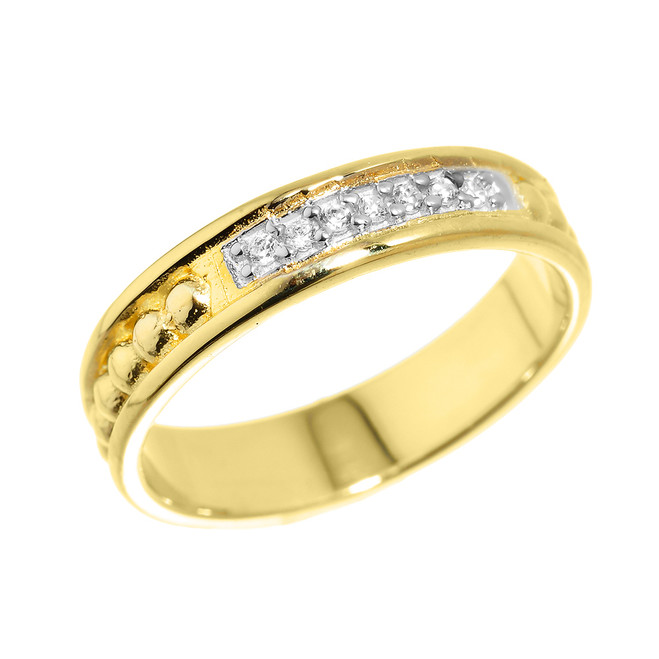 Yellow Gold Unisex Wedding Band with CZ