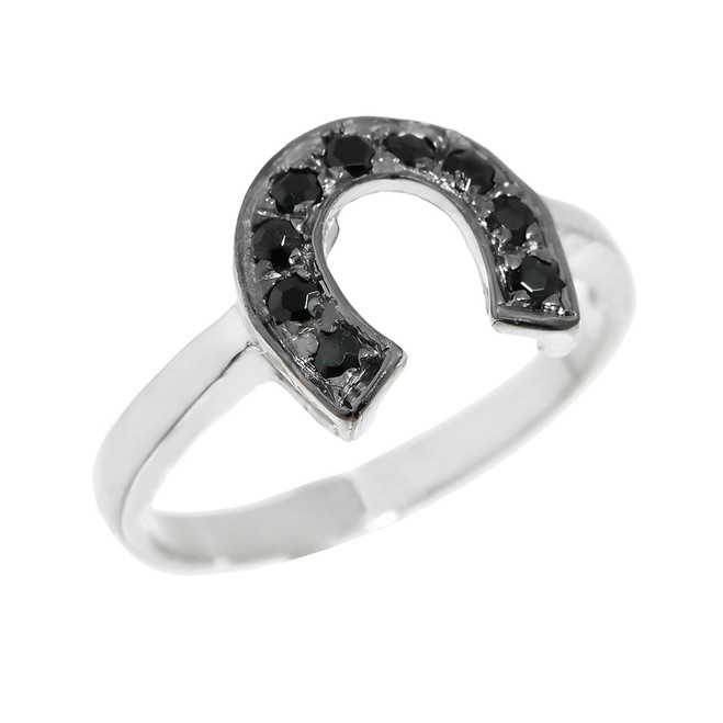 White Gold Black Diamond Horseshoe Ladies Ring