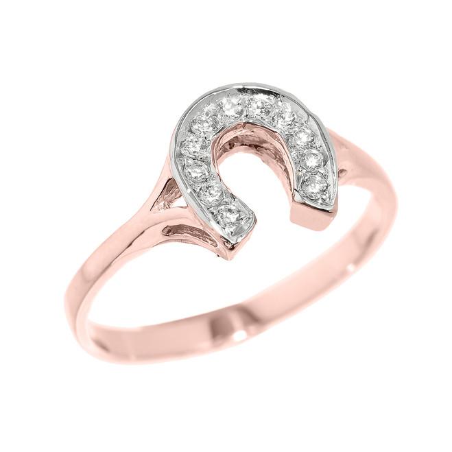 Rose Gold CZ Studded Ladies Horseshoe Ring