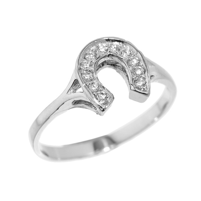 Sterling Silver CZ Studded Ladies Horseshoe Ring