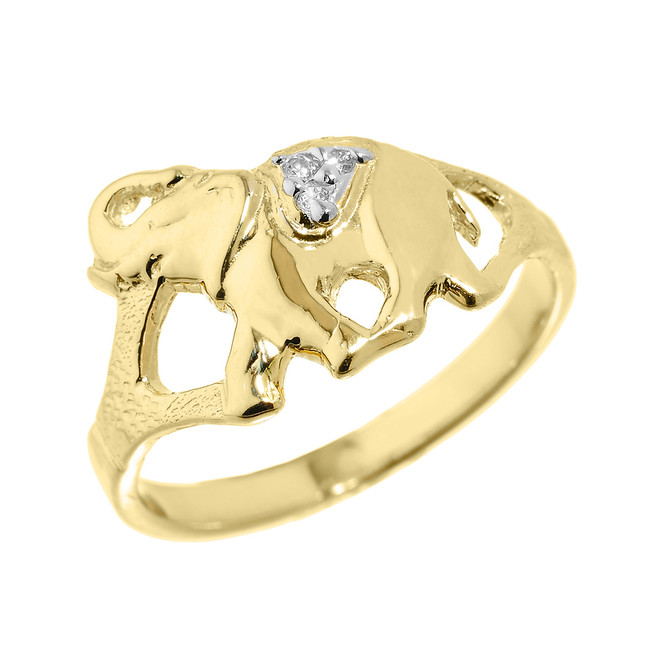 Yellow Gold Diamonds Studded Elephant Ring