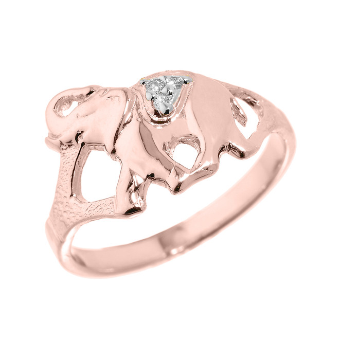 Rose Gold Diamonds Studded Elephant Ring