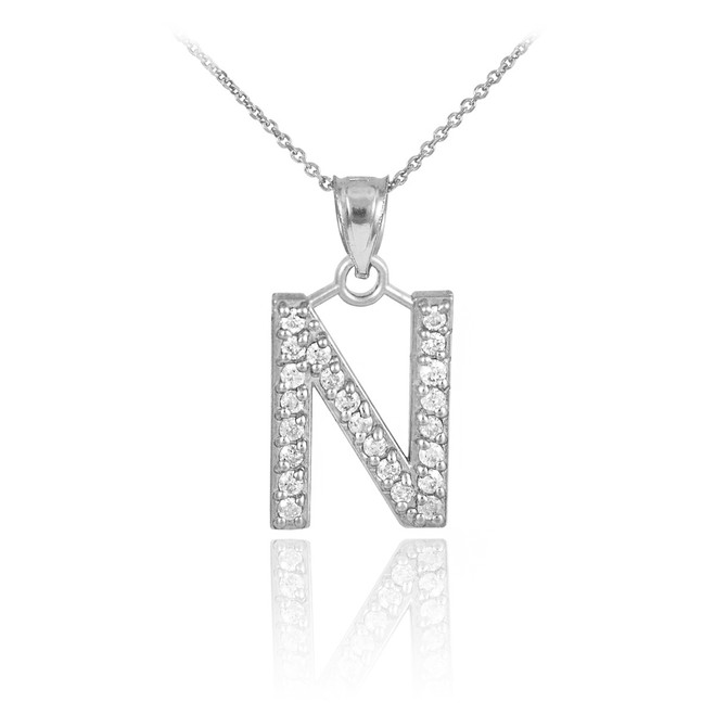 "Sterling Silver Letter ""N"" Initial CZ Monogram Pendant Necklace"