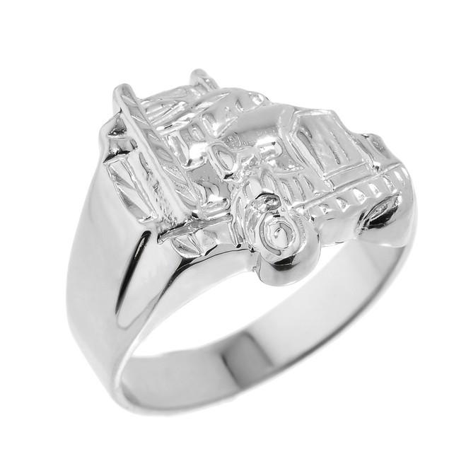 Men's White Gold Truck Design Ring