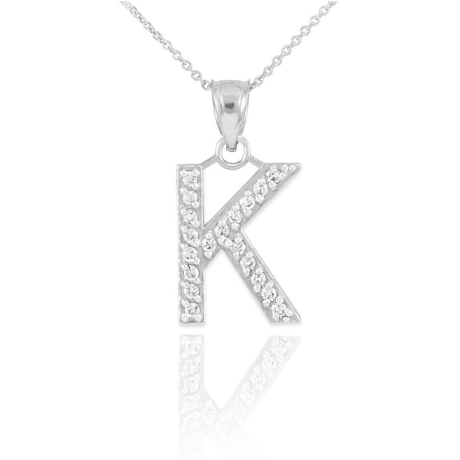 "Sterling Silver Letter ""K"" CZ Initial Pendant Necklace"