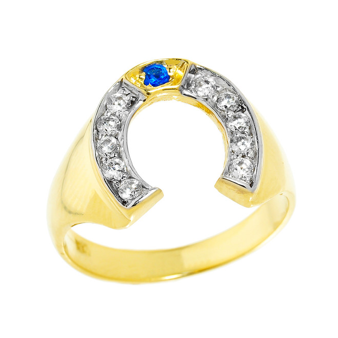 Bold Yellow Gold White and Blue CZ Men's Horseshoe Ring