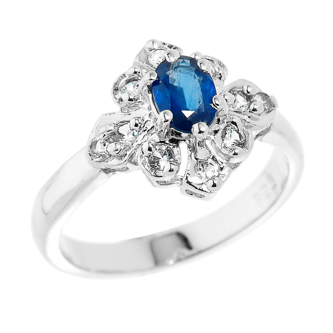 Sterling Silver Blue Sapphire and White Topaz Ladies Gemstone Ring
