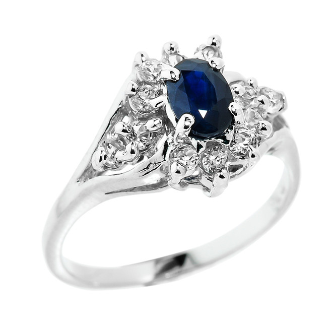 Sterling Silver Sapphire and White Topaz Ladies Gemstone Ring