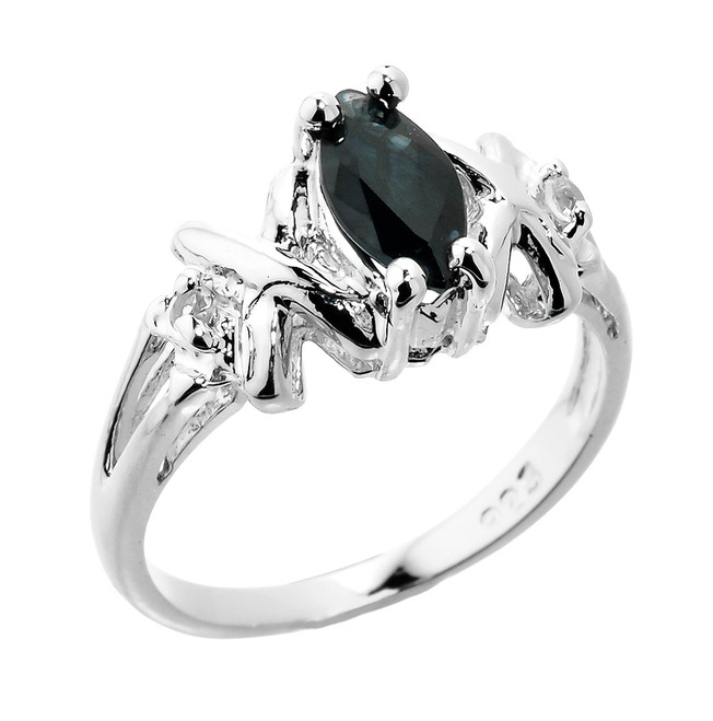 Sterling Silver Marquise Black Sapphire September Birthstone Ring