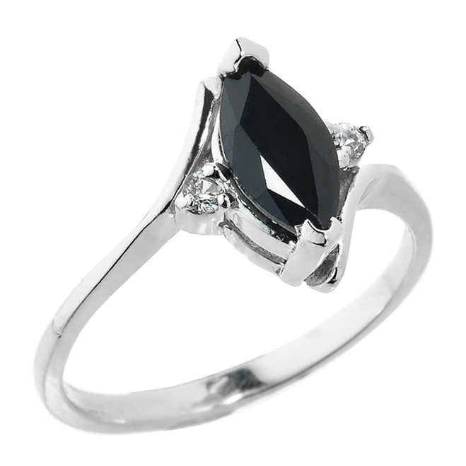 Sterling Silver Marquise Black Sapphire September Birthstone Ladies Ring