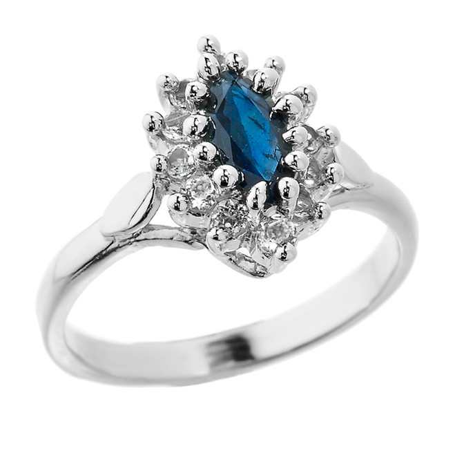 Sterling Silver Marquise Blue Sapphire and White Topaz Ladies Princess Ring
