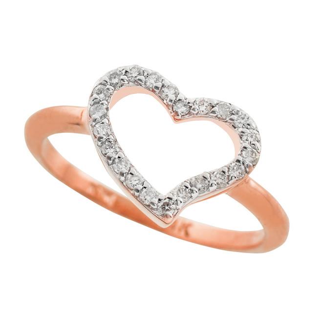 Rose Gold Diamond Heart Ring