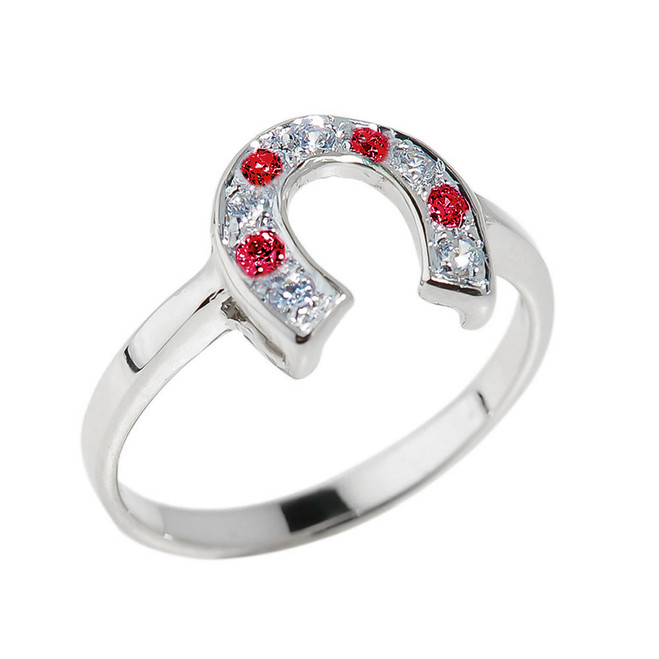 White Gold White and Red CZ Ladies Horseshoe Ring