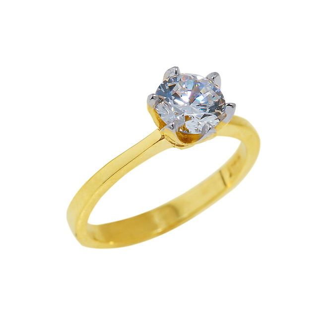 Gold CZ Engagement Ring