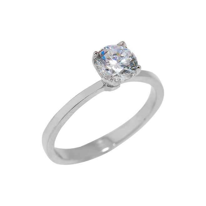 White Gold CZ Ladies Engagement Ring