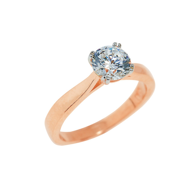 Rose Gold Ladies Engagement Ring with CZ