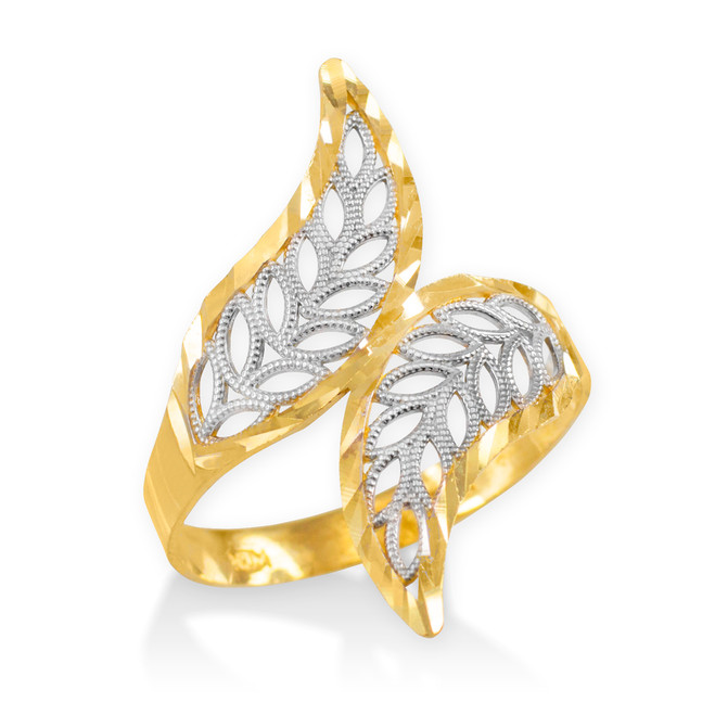 Two-Tone Gold Diamond Cut Filigree Ring