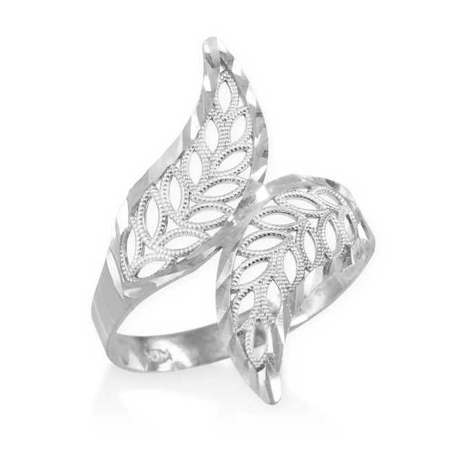 White Gold Diamond Cut Filigree Ring