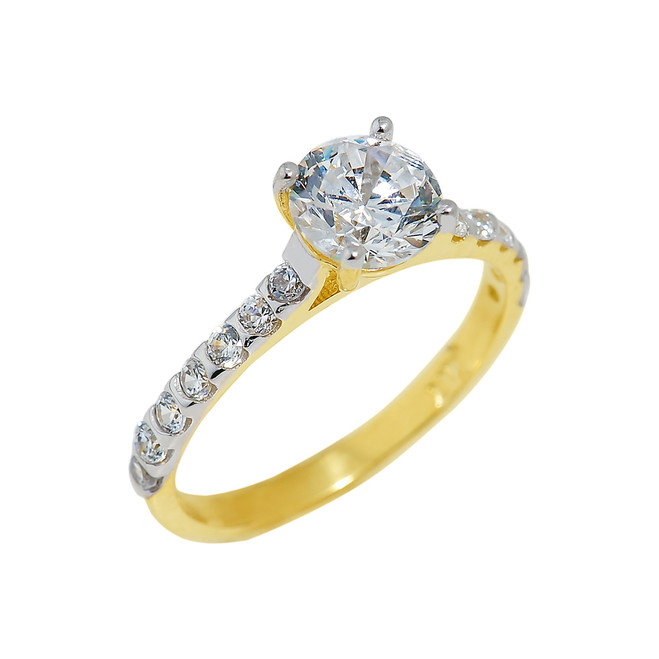 Gold Ladies Engagement Ring with Cubic Zirconia