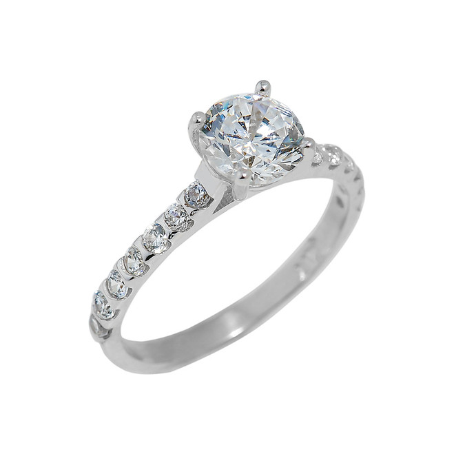 White Gold Ladies Engagement Ring with Cubic Zirconia