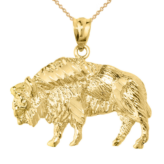 Yellow Gold Diamond Cut Bison Pendant Necklace