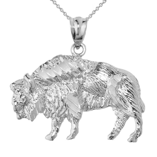 White Gold Diamond Cut Bison Pendant Necklace