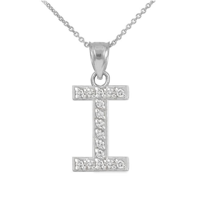 "White Gold Letter ""I"" Diamond Initial Pendant Necklace"