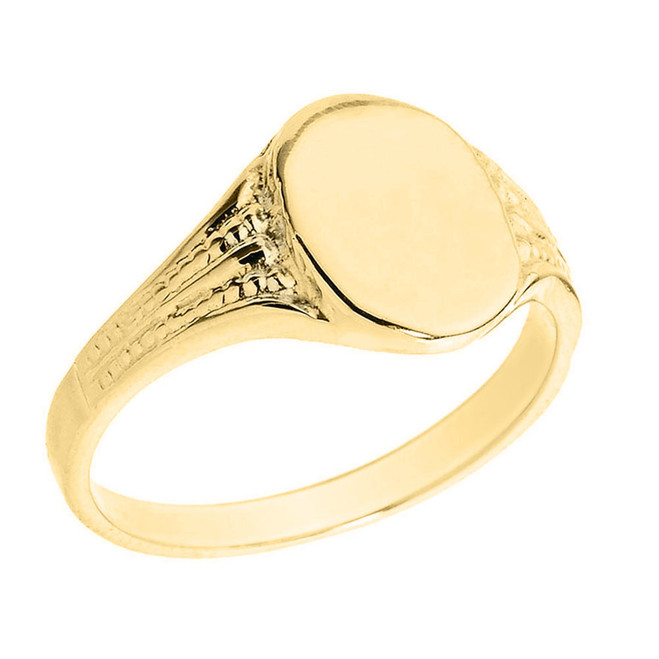 Solid Yellow Gold Oval Engravable Men's Signet Ring