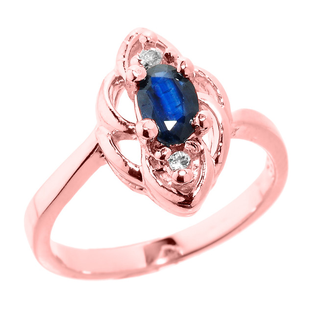 Rose Gold Diamond and Blue Sapphire Proposal Ring